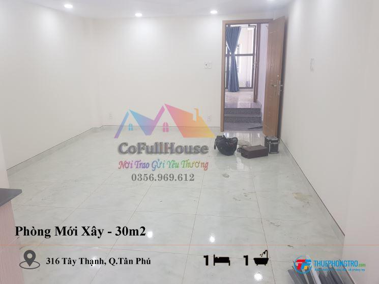 🌟Chính Chủ Cho Thuê Phòng Mới Xây 🔥 30m2 🌟Tây Thạnh, Tân Phú