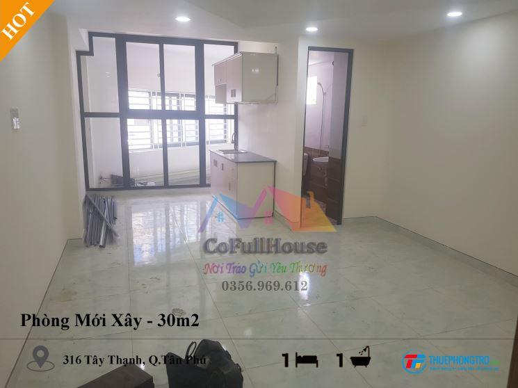 Cho Thuê Phòng Mới Xây Chính Chủ - 30m2- Tây Thạnh, Tân phú