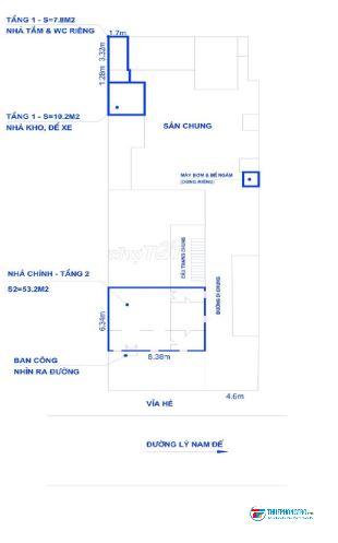 Cho thuê tầng 2 nhà biệt thự Pháp cổ, 70m2, số 5 Lý Nam Đế